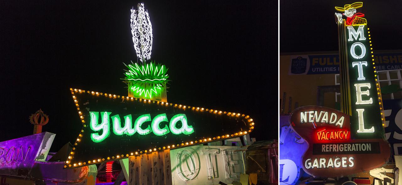 Még két motel a neonmúzeum gyűjteményéből: balra a Yucca Motel (ötvenes évek). A cégér tetején figyelemreméltó az őrült módon csavarodó-tekeredő fehér pálmavirág. Jobbra Las Vegas egyik jelképe, Vegas Vic, a kacsintó cowboy.