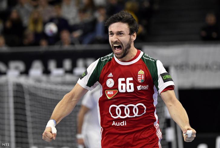 Lékai Máté a német-dán közös rendezésű férfi kézilabda-világbajnokság csoportkörének 4. fordulójában játszott Magyarország - Egyiptom mérkőzésen Koppenhágában 2019. január 16-án.