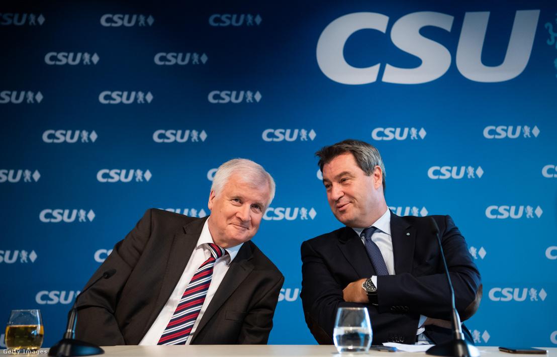 Seehofer és Söder CSU vezetőségi sajtótájékoztatóján