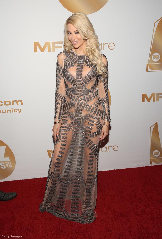Jessica Drake egy nagyrészt átlátszó ruhát öltött