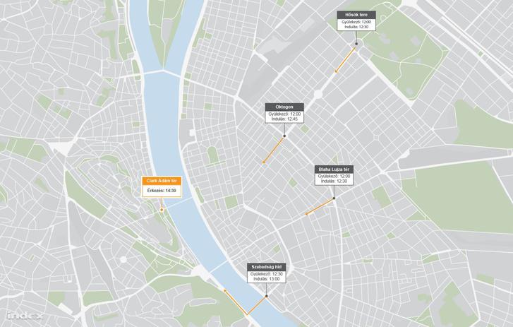 2019. január 19-i budapesti tüntetések helyszínei