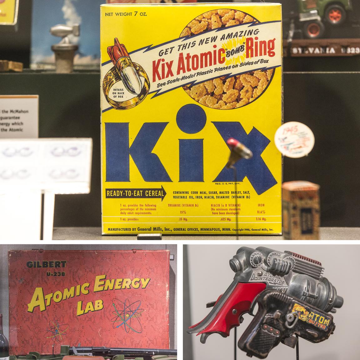 Az atomkor mindennapi tárgyai. A gabonapelyhes dobozzal atombombás gyűrűt lehetett nyerni, a srácok hatlövetű coltok helyett már atompisztolyokkal puffantották le egymást, és a kis okostojások igazi uránércet tartalmazó Gilbert U-238 Atomic Energy Lab játéklaborral játszhattak otthon.