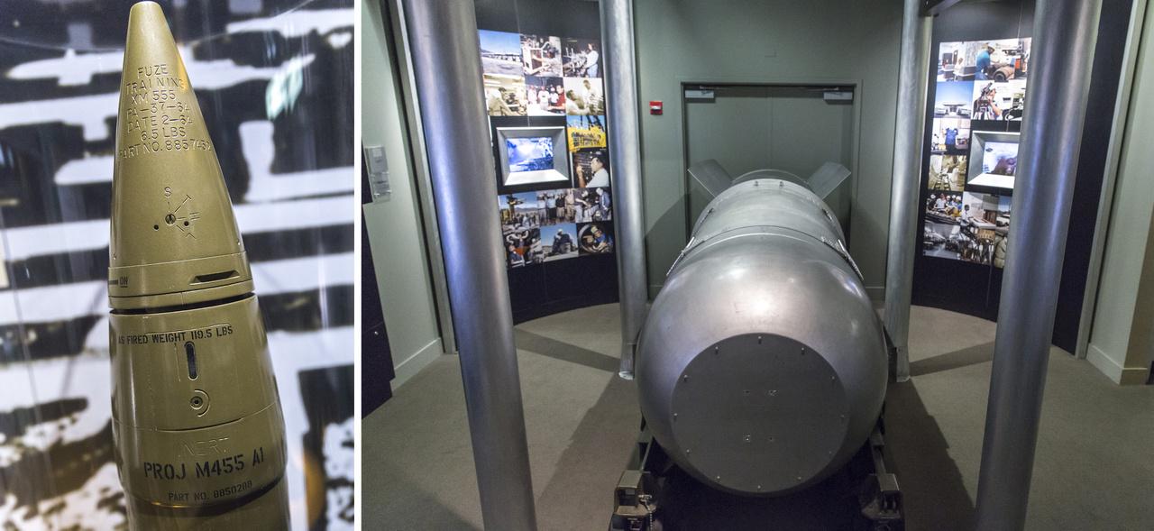 Balra: W48 nukleáris ágyúlövedék, a vilag egyetlen ilyen típusú atomfegyvere. A 15 kilotonnás tüzérségi tömegpusztító fegyvert egy alkalommal, 1953 május 25--én tesztelték egy 280 mm-es ágyúból kilőve. Körülbelül ezer ilyen lőszer készült 1962 és 1991 között a hadsereg és a tengerészgyalogság számára. Jobbra: Teller Ede egyik gyermeke, egy B-53-as termonukleáris fegyver, azaz hidrogénbomba. A 9 megatonnás tömegpusztító fegyver az egyik legnagyobb erejű atombombája volt az Egyesült Államoknak. 1961 és 1965 között több mint 350-et gyárottak belőle, a nukleáris leszerelés után ötven maradt belőle az USA arzenáljában.
