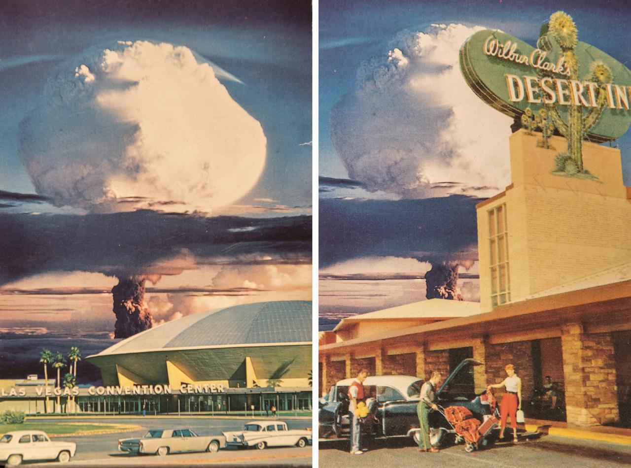 Két képes levelezőlap a múzeum gyűjteményéből. A turistacsalogató gombafelhő mindkettőn ugyanaz, a bal oldalin a kongresszusi központ (Las Vegas Convention Center) 1990-ben lebontott ufószerű kupolás épülete látható, jobbra egy sivatagi motel.