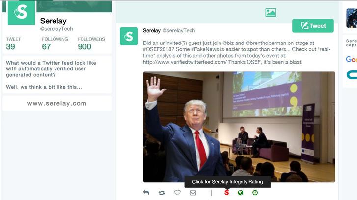 A Serelay így képzeli el, milyen lenne a Twitter, ha beleépülne a képellenőrző technológiájuk: rögtön jelzi a kép alatt, ha valami nem stimmel.