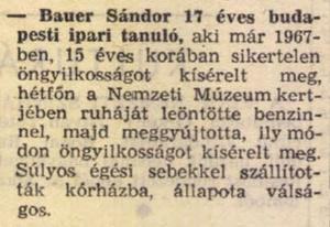 Hír Bauer Sándor öngyilkossági kísérletéről a Népszabadság 1969. január 22-i számában. Forrás: Arcanum Adatbázis