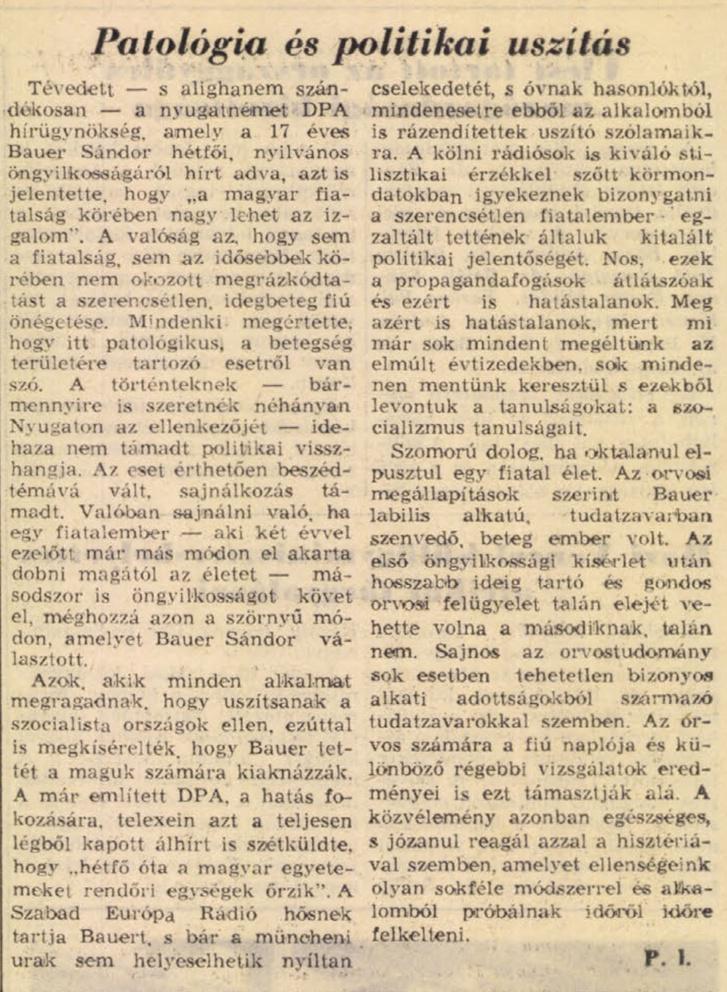 Cikk Bauer Sándor haláláról, a Népszabadság 1969. január 24-i számában. Forrás: Arcanum Adatbázis