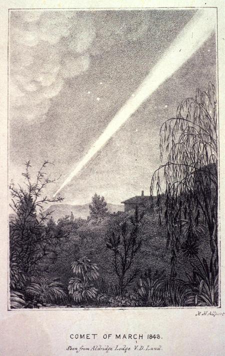 Az 1843-as napsúroló üstökös egy korabeli, Tasmániában készült rajza. A kivételes méterű csóva 100 fok hosszan nyújtózott az égen, valódi hosszúsága elérte a 2 CsE-t, vagyis a földpálya átmérőjével vetekedett.