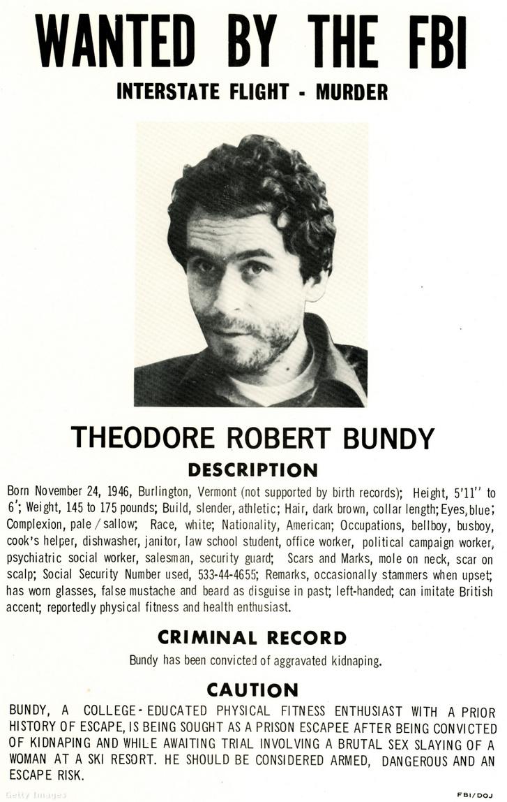 Theodore Robert Bundy FBI-os körözési plakátja