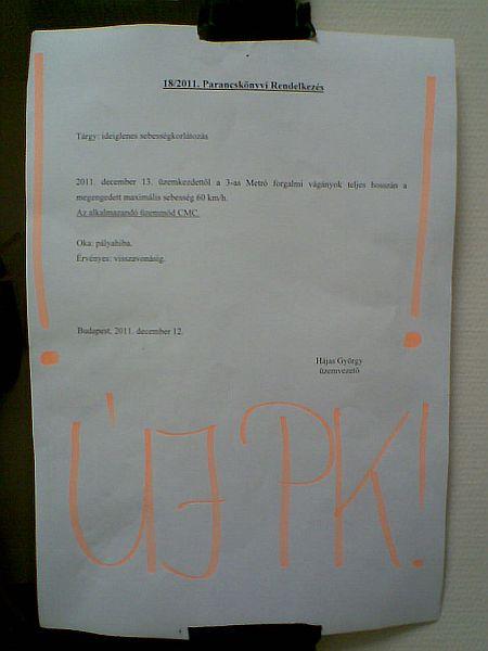 A hajnalban kifüggesztett parancskönyvi rendelkezés