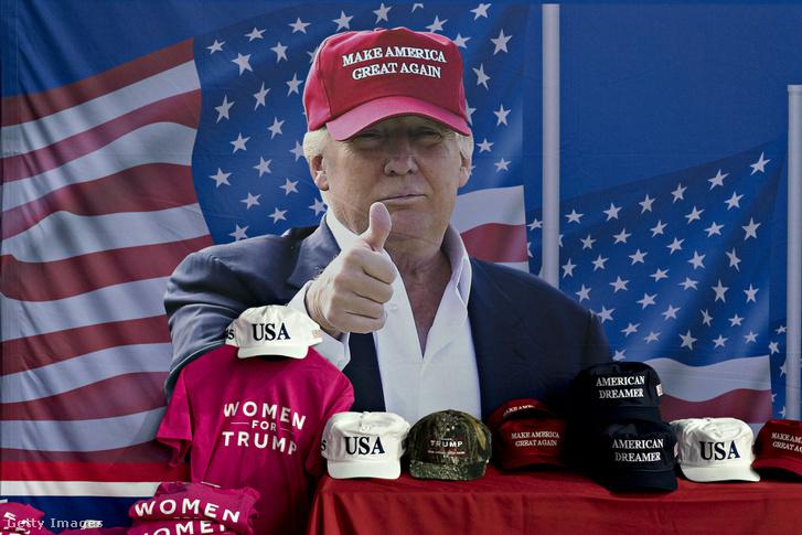 Donald Trump kampány termékek kihelyezve egy üzletben Washingtonban
