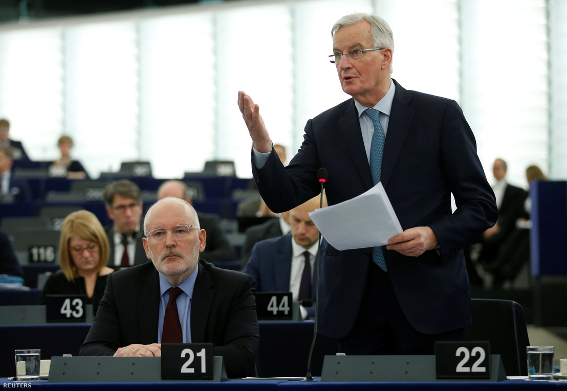 Az Európai Unió Brexit-főtárgyalója, Barnier beszédet tart az Európai Parlamentben, Strasbourgban 2019. január 16-án