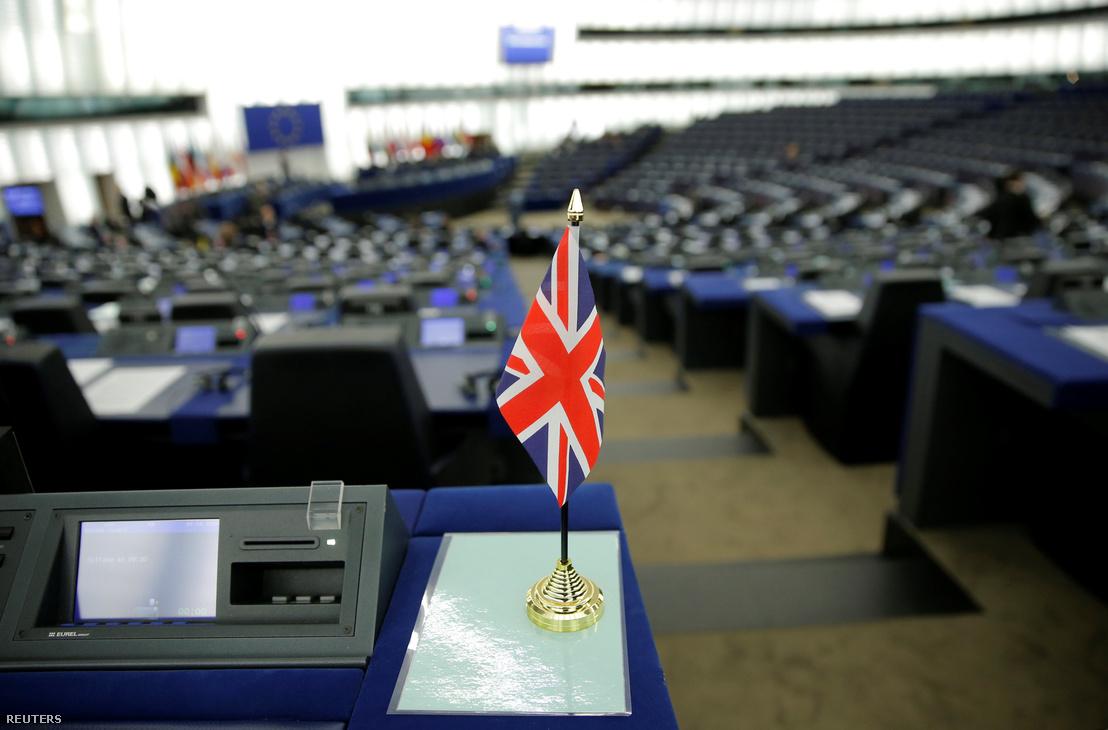 Union Jack zászló az Európai Parlamentben a Brexit vita előtt, 2019. január 16-án