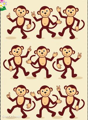 stockfresh 283815 visual-puzzle---spot-mirror-images---monkeys-w