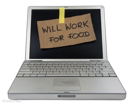 stockfresh 416440 will-work-for-food-cardboard-sign-on-computer
