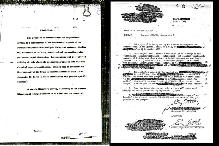 Nyilvánosságra került MKUltra-dokumentumok.