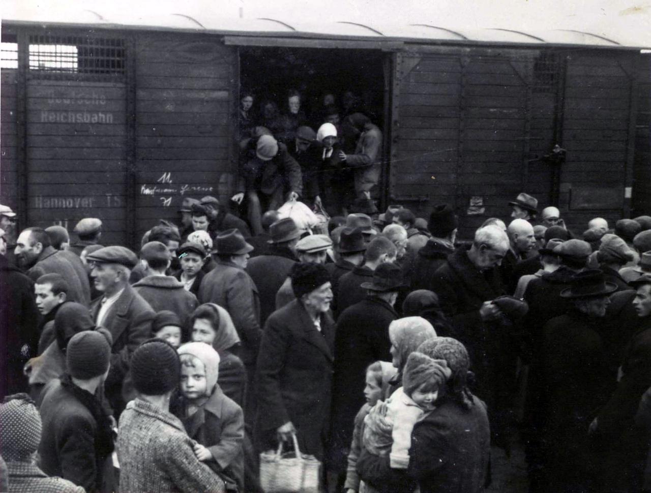 Az érkezők a zsúfolt vagonokból kilépve a vonatok mellett gyülekeztek. Még fogalmuk sem volt arról, hogy egy halálgyárba érkeztek, amit legtöbbjük nem él túl. 1944 májusa és júniusa között körülbelül 250 ezer magyar zsidót vittek Auschwitzba. Bár Horthy Miklós július 7-én leállítatta a transzportokat, addigra már közel 435 ezer magyar zsidót deportáltak a táborba.