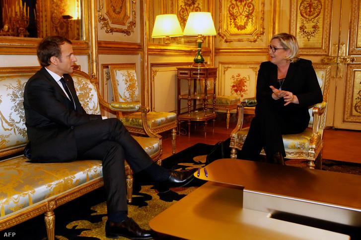 Macron és Le Pen az Élysée-palotában 2017 novemberében