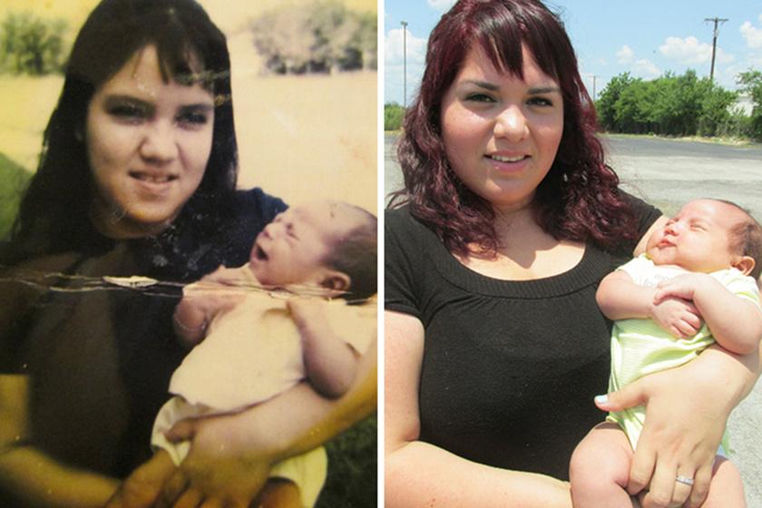 Az első fotón az anya látható elsőszülött fiával, a másodikon a lánya, szintén az elsőszülött fiával. Hihetetlen, mennyire hasonlítanak.