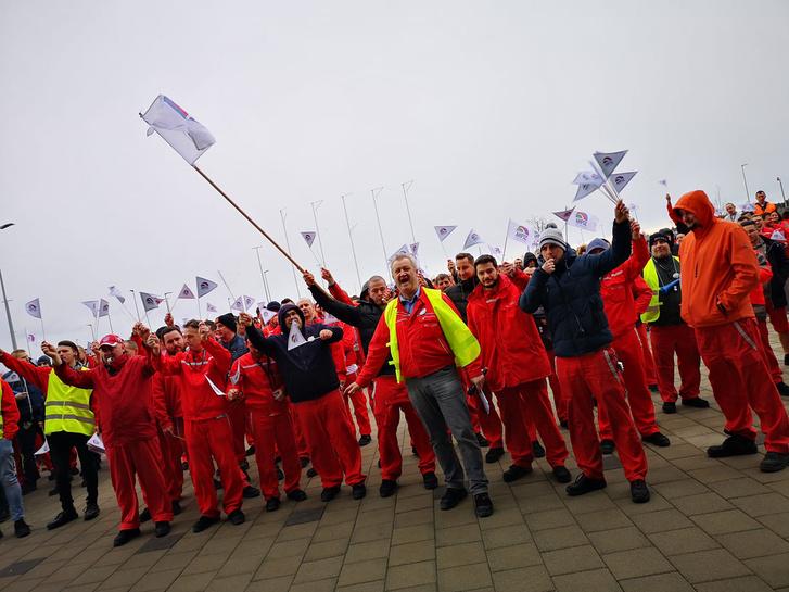A korábbi figyelmeztető sztrájk során készült fotó