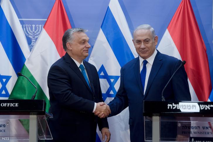 Orbán Viktor és Benjámin Netanjahu izraeli miniszterelnök Jeruzsálemben 2018. július 19-én.