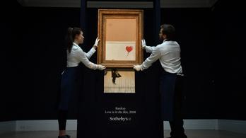 Kiállítják Banksy ledarált képét