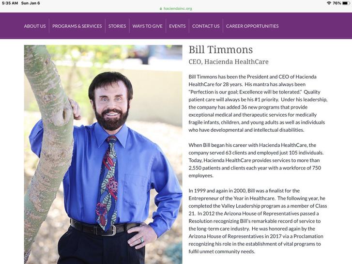 Bill Timons a Hacienda elnök-vezérigazgatójának bemutatkozása az intézmény honlapján