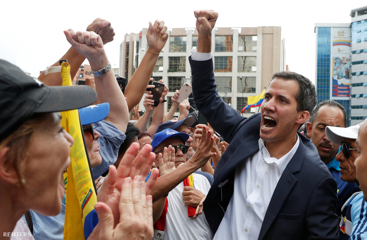 Juan Guaidó egy ellenzéki tüntetésen 2019 január 23-án