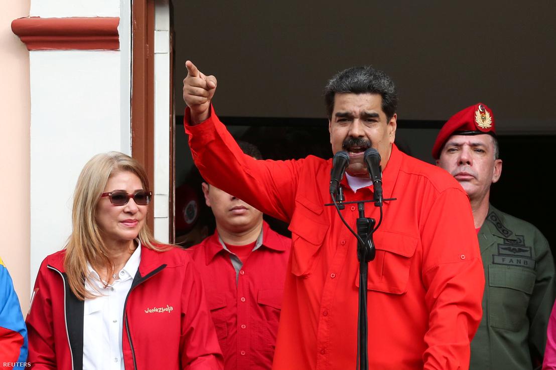 Nicolas Maduro beszédet mond 2018 január 23-án.