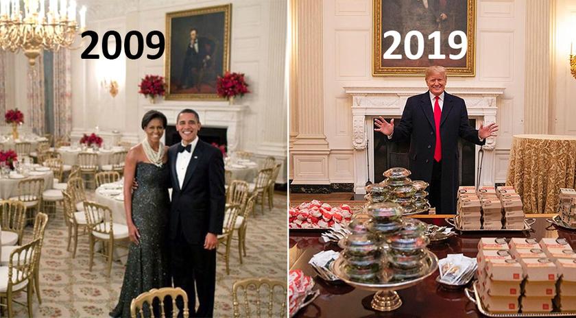 Díszvacsora a Fehér Házban: Obamáék elegánsan, 2009-ben, illetve Donald Trump idén, gyorskajával megpakolt asztalok mögött.