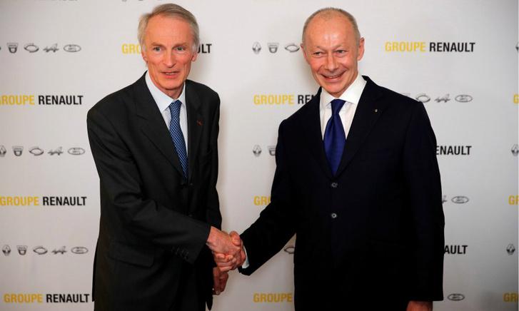 A Renault két új vezetője. A kép bal oldalán Jean-Dominique Senard elnök, jobb oldalon Thierry Bolloré vezérigazgató látható.