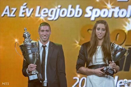 Berki Krisztián tornász, az év férfi sportolója és Csipes Tamara kajakos, az év női sportolója