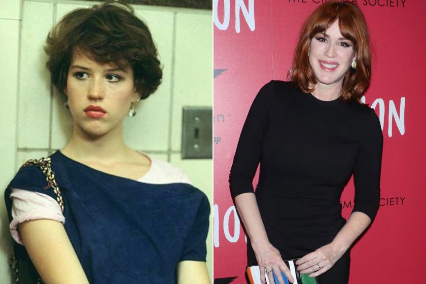 Molly Ringwald 16 évesen és napjaikban.