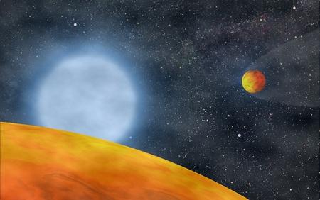A vörös óriás fázist túlélő KOI.55.01 és KOI.55.02 bolygók művészi ábrázolása (S. Charpinet, Univ. of Toulouse). Forrás: csillagaszat.hu