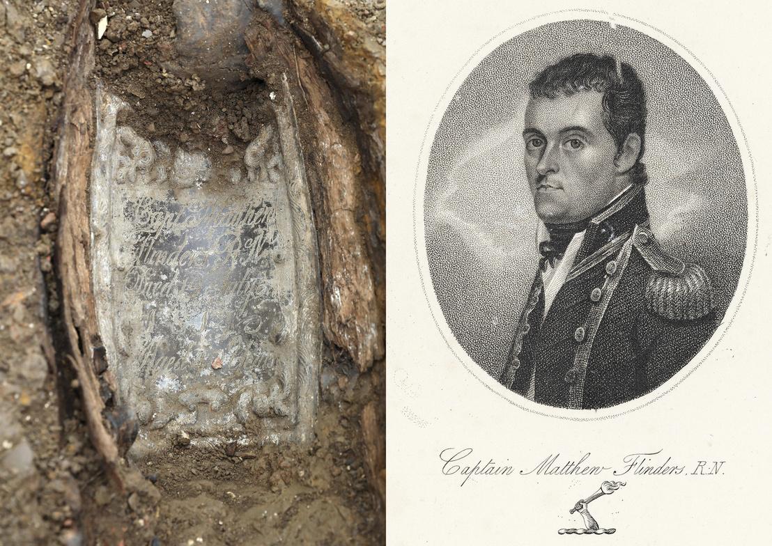 A koporsót díszítő ólomtábla // Matthew Flinders (1774-1814)