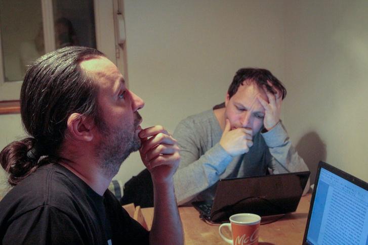 Bérczesi Róbert és Kiss László az Én meg az ének könyv készítése közben