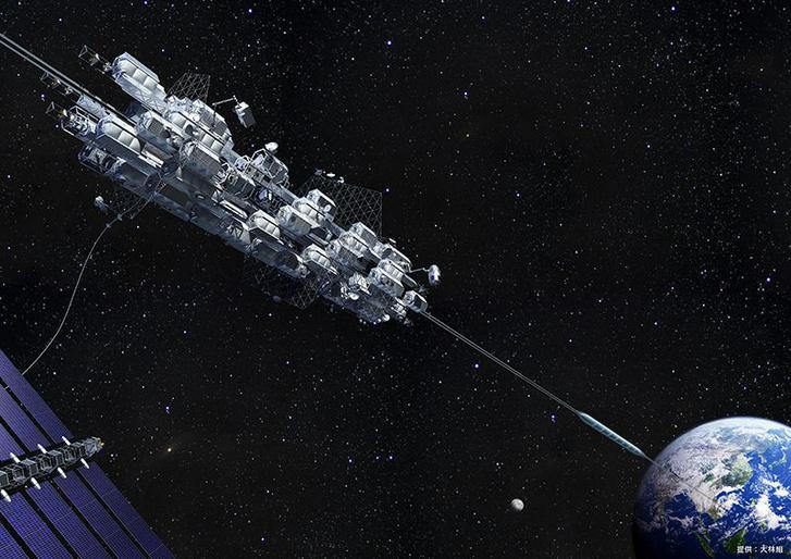 Az Obajasi Vállalat 2050-re tervezett űrliftjének elképzelt kinézete