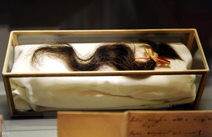 """Szendrey Júlia halotti hajfürtje a """"Ki vagyok én? Nem mondom meg - Petőfi választásai"""" című kiállításon 2011-ben a Petőfi Irodalmi Múzeumban"""