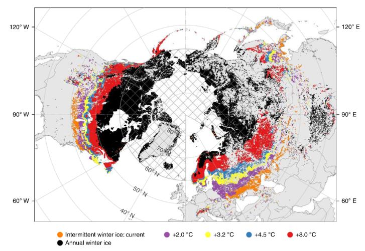 A télen befagyó tavak visszaszorulása a globális átlaghőmérséklet emelkedésétől függően