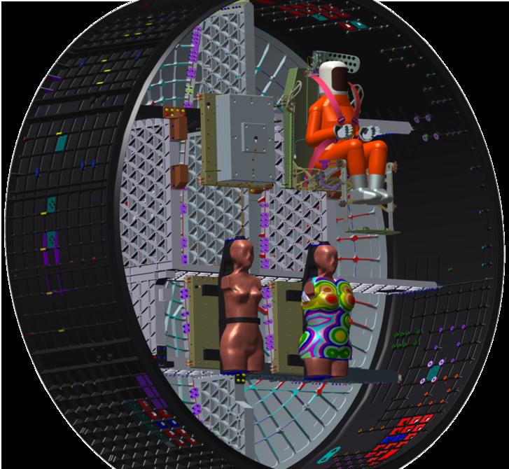 A fantomok elhelyezkedése az Orion űrhajóban, jobbra alul Zohar, mellette a védtelen Helga