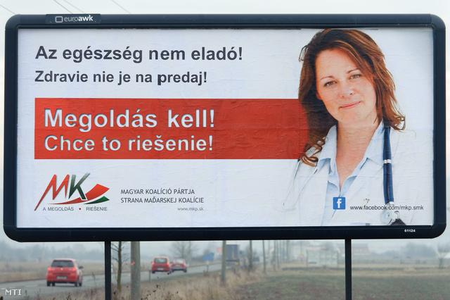 A Magyar Koalíció Pártjának (MKP) kétnyelvű választási plakátja Losoncon