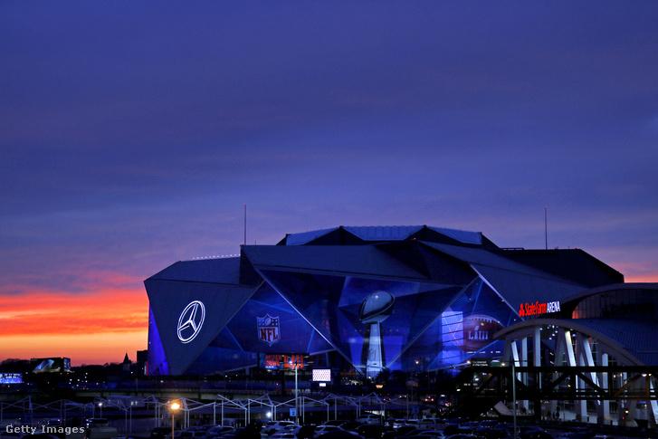 Az atlantai Mercedes-Benz Stadion 2019. január 27-én, ahol a Super Bowl LIII-t rendezik