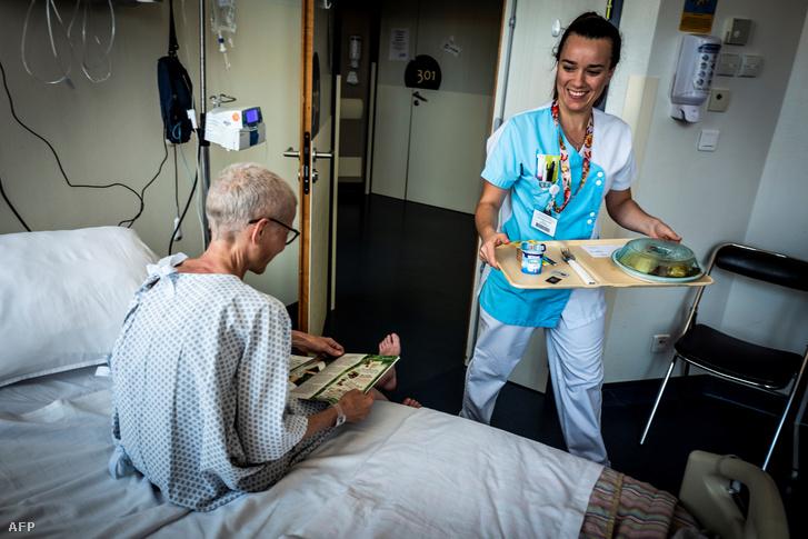 Rákos beteg egy lyoni kórházban 2018 szeptemberében