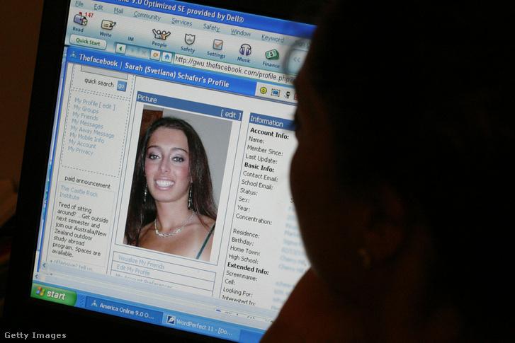 Kollégiumi hallgató profilja a thefacebook.com felületén 2004. december 21-én