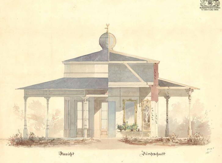 Feszl pavilonterve valóban a Városligetbe készült 1860-ban, de nem ide és nem sorozatgyártásra