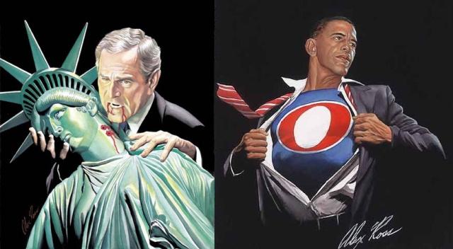 Az Eisner-díjas képregényrajzoló, Alex Ross pólómintái 2004-ből és 2008-ból