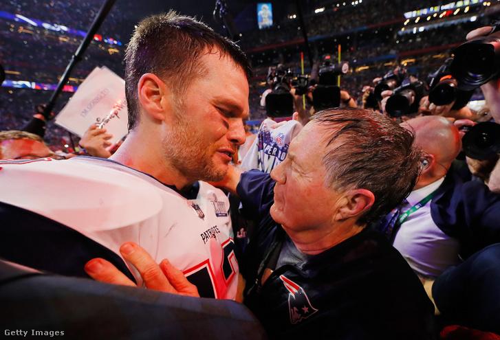 Tom Brady és Bill Belichick a hatodik közös Super Bowl-győzelem után