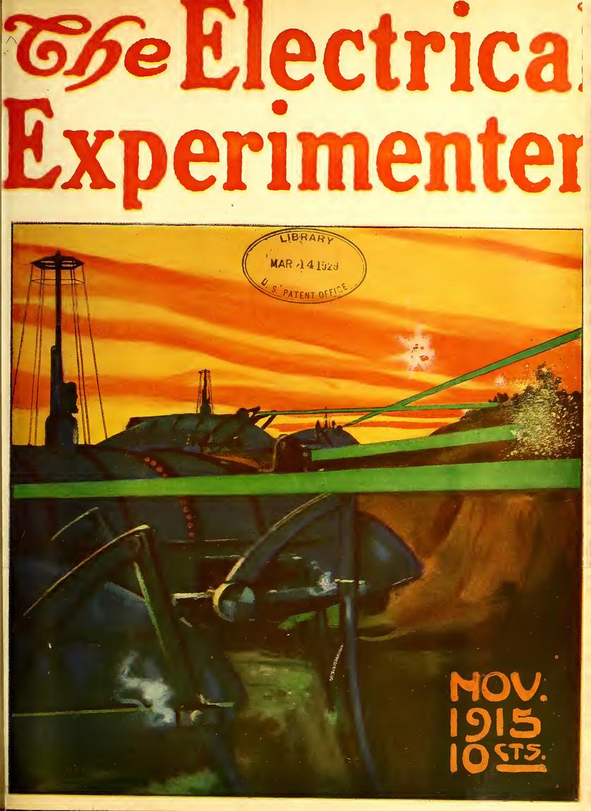 """1915. november: 16 hónapja dúl az első világháború, alig 1-2 évtizeddel vagyunk a radioaktivitás felfedezése után. A címlapon látható háborús gépezet a """"Sugaras pusztító"""" (The Radium Destroyer), Thomas H. Wrenn festménye. A lapban a Jövő hadviselése című cikk foglalkozik az atomágyú lehetőségével, az elképzelés szerint a rádióirányítású páncélozott lépegető az ellenséges vonalakhoz érve célzottan, nagy energiájú, halálos sugárvetőivel képes mindent megsemmisíteni, ami útjába kerül, sem acél, sem beton, sem felfegyervezett katona nem állhat útjába."""