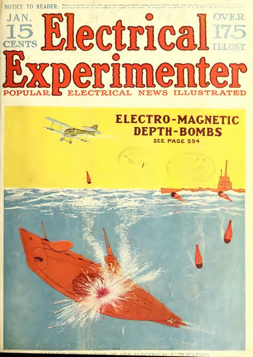 1918. januári szám címlapján újabb tengeralattjárók elleni fegyver ötlete látható. Az elektromágneses mélységi bombákkal meg lehet szórni a tengereket, az aknák aztán mágneseikkel rátapadnak a hajókra, de csak akkor robbannak fel, ha a hajótest legalább 10-15 méteres mélységbe süllyed. Ekkor a víznyomás hatására megnyílik egy hidrosztatikus szelep, ami működésbe hozza a gyutacsot és a robbanótöltet felrobban, léket ütve az ellenséges tengeralattjárón.