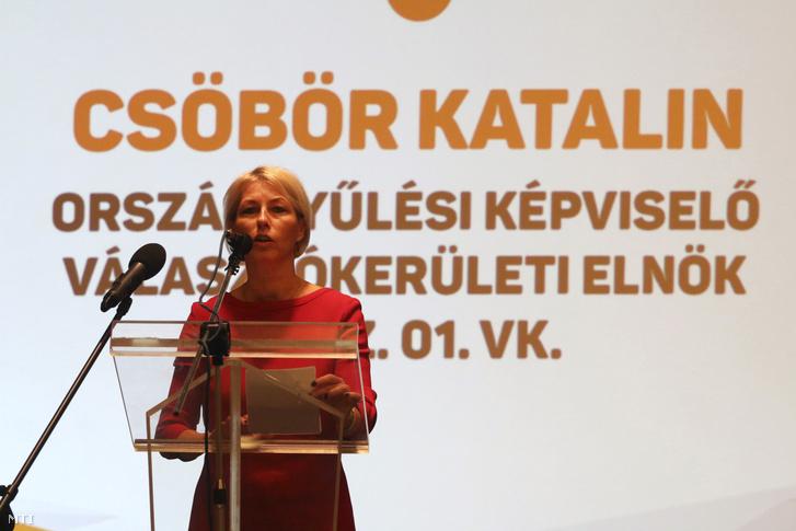 Csöbör Katalin, a térség fideszes országgyűlési képviselője, képviselőjelölt beszédet mond a Fidesz-KDNP országjárása keretében tartott miskolci fórumon 2018. március 28-án.